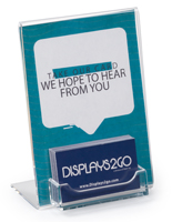 Tabletop Acrylic Business Card Display with Sign Holder