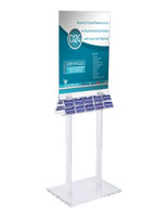 Acrylic Poster Stand with Business Card Holders for Contact Information or Gift Cards