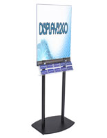 Black Poster Stand with Business Card Rack Made of Acrylic