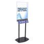 Black Poster Stand with Business Card Rack on MDF Base