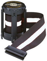 Black W/ White Stripe 7 1/2' Replacement Belt For Tensabarrier Stanchions