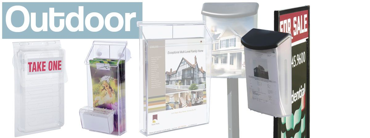 outdoor holders for brochures and real estate flyers