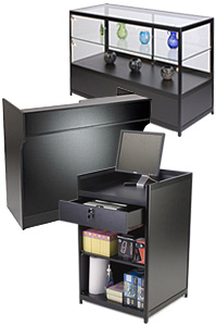 Black Retail Showcases & Counters