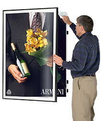 Wall mounted swinging poster frames
