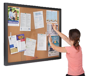 Large enclosed cork board for business