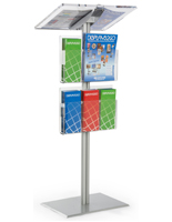 Floor Standing Silver Minimalist Lectern with Brochure Pockets
