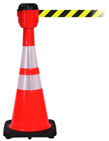 Traffic Cone with 15' Belt & Reflective Collars