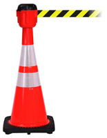 Traffic Cone with 30' Barrier Belt, Diagonal Design