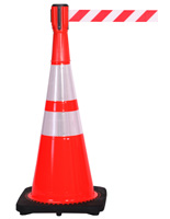 "28"" Traffic Cone with Mounted Barrier"