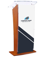 "Acrylic Speaking Stand with Custom Printing, 16"" x 44"" Logo Area"