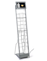 Silver digital signage video literature rack