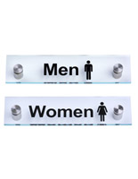 """Men"" /""Women"" Restroom Signs, 8"" Wide"