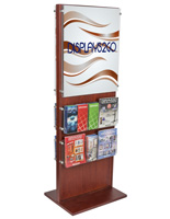 "Dual-Sided Poster Stand With 20 Brochure Pockets for 4"" x 9"" Literature"