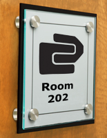 Name Plate on Door with Stainless Steel Standoffs