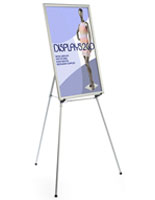 "Silver Easel Stand with 24"" x 36"" Snap Frame with Adjustable Legs"