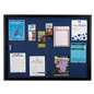 Blue Fabric Bulletin Board with Black Aluminum Frame