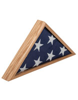 American-Made 5' x 9.5' Oak Flag Case for Memorial Ensign