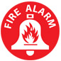 Fire alarm floor safety sign with universal symbol