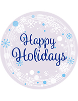 "12"" x 12"" round ""Happy Holidays"" floor decal with non-slip textured vinyl"