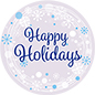 "12"" x 12"" round ""Happy Holidays"" floor decal with silver background"