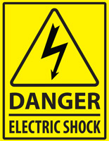 Electric danger safety floor marker sign with pre-printed graphics