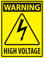 Electrical hazard industrial warning sticker with caution text