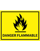 Flammable industrial danger sign with pictogram and text