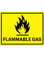Yellow flammable gas industrial warning sign