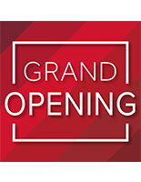 Attention getting red GRAND OPENING walk on floor stickers for retail