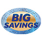 Indoor outdoor BIG SAVINGS floor decals for retail promotions