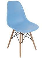 Blue Molded Plastic Eames-Style Chair