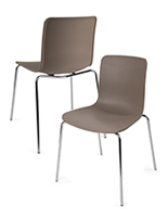 Set of 2 Modern Plastic Chairs with Brown Seats