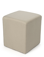 Soft seating cube with woven natural fabric upholstery