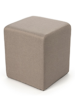 Foam cube ottoman in tan color textured fabric