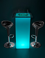 Branded LED highboy table set with built-in rechargeable battery