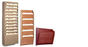hanging wood, wire, and mesh file organizers for medical and tradtional offices