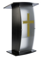 Black Pulpit with Traditional Cross with Two Interior Shelves for Placing Presentation Notes