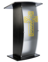 Black Pulpit with Celtic Cross is Elegant Enough for Any Church