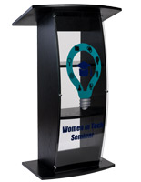 UV printed clear replacement panel for FLCT series lecterns with custom graphics