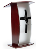 Acrylic and Mahogany Pulpit with Prayer Hands Cross
