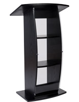 Curved black lectern stand with shatter-resistant acrylic front panel