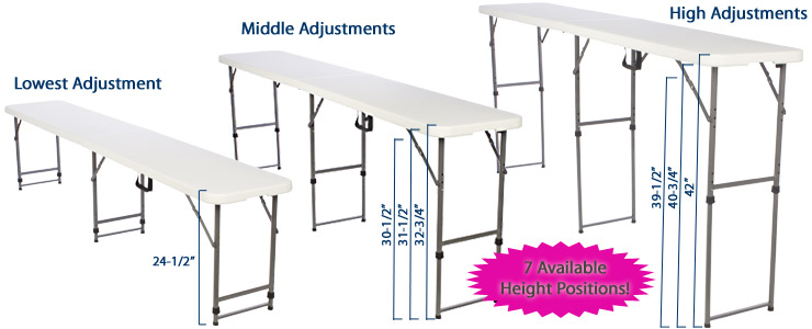 Adjustable Height Folding Tables That Have A Carrying Handle