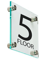 "Office Floor Number Sign, 1"" Overall Depth"