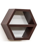 Mahogany Wood Hexagon Shelf