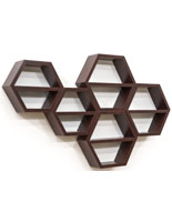 Mahogany Hexagon Honeycomb Shelving