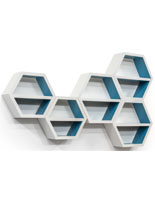 White Floating Hexagonal Shelves