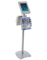 Silver iPad Kiosk with Literature Holders