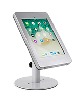 Countertop locking iPad Pro tablet holder with silver finish