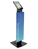 Pillar base iPad Pro kiosk with printed poster in glossy black