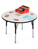 Height Adjustable Round Whiteboard Table